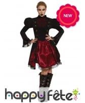 Robe Steampunk noire et rouge pour femme