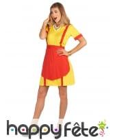 Robe tablier jaune rouge de serveuse US pour femme, image 2