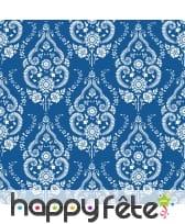 Serviettes bleues arabesques fleuris blancs