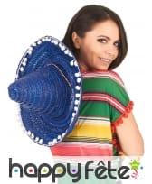 Sombrero bleu contours en pompons blancs, image 2