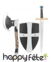 Set bouclier, épée et hache médiévale en plastique, image 1