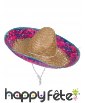 Sombrero bleu et rose pour adulte