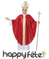 Soutane blanche et rouge de pape avec chapeau