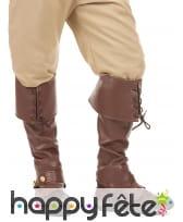 Sur-bottes marron avec lacets en simili cuir
