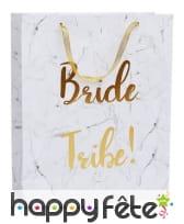 Sac-cadeau Bride Tribe blanc or