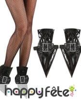 Sur-chaussures de sorcière noires en pointe