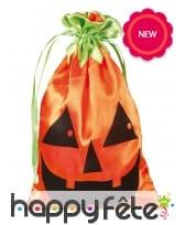 Sac citrouille pour bonbons de Halloween, 20cm
