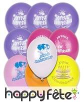 Sachet de 10 ballons Joyeux anniversaire