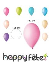 Sachet de 12 ballons pastels de 30cm