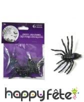 Sachet de 6 araignées décoratives noires