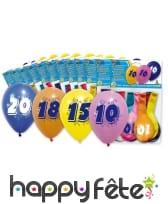 Sachet de 8 ballons nombre ou chiffre multicolores