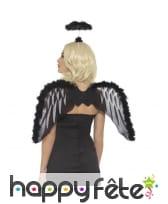 Set d'ange noir, ailes et auréole