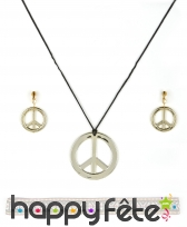 Set de bijoux peace and love et bandeau