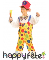 Salopette de clown multicolore pour enfant