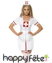 Set d'infirmière sexy blanc et rouge