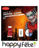 Set de maquillage clown tueur pour adulte
