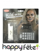 Set de maquillage squelette avec gemmes argentées
