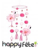 Suspension de pompons flamant rose, 16 cm
