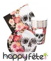 Set de vaisselle fleurie Jour des morts
