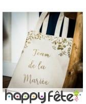 Sachet en lin team de la mariée, pailletés, image 1