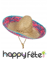 Sombrero en paille avec bordure rose bleu