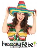 Sombrero en paille rouge-vert-jaune, image 1