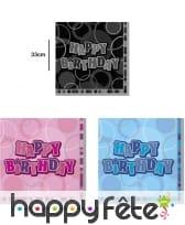 Serviettes Happy Birthday bleues, noires ou roses