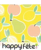 Serviettes jaunes dessins de fruits