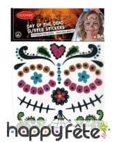 Stickers Lady Calavera pailletés pour visage