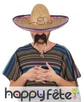 Sombrero mexicain pour adulte, en paille, image 1