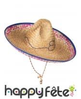 Sombrero mexicain pour adulte, en paille