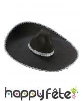 Sombrero noir contour argenté
