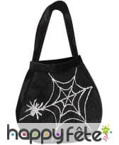 Sac noir imprimé araignée et toile