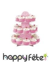 Support rose 3 étages pour cupcakes