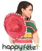 Sombrero rose contours en pompons blancs, image 2