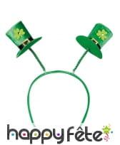 Serre-tête avec chapeaux Saint Patrick sur ressort, image 1