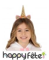 Serre-tête corne de licorne dorée pour enfant
