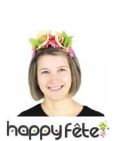 Serre-tête couronne de fleurs colorées pour adulte