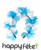 Serre tête de fleurs bleu et blanches adulte