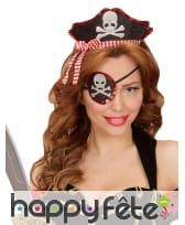 Serre tête femme pirate girly avec cache oeil