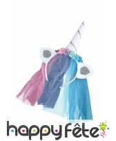 Serre tête licorne avec voilette multicolore femme, image 1
