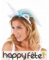 Serre tête licorne avec voilette multicolore femme