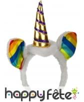 Serre-tête licorne colorée avec oreilles