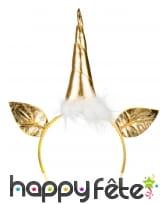 Serre-tête licorne dorée, tête et oreilles, adulte, image 1