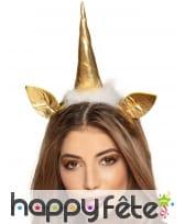 Serre-tête licorne dorée, tête et oreilles, adulte