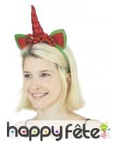 Serre-tête licorne du père Noël rouge et vert