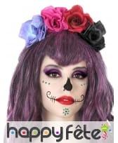 Serre tête recouvert de fleurs colorées