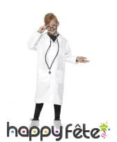 Tenue blanche de médecin scientifique pour enfant