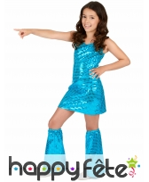 Tenue bleu disco recouverte de sequins pour fille, image 1