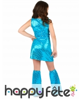 Tenue bleu disco recouverte de sequins pour fille, image 2